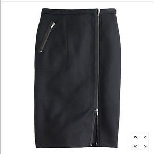 Jcrew asymmetrical black wool zipper pencil skirt